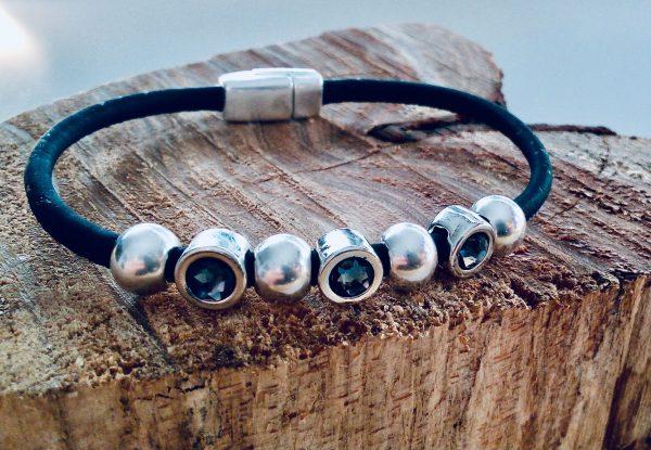 Korkarmband einfach Swarovski & Beads