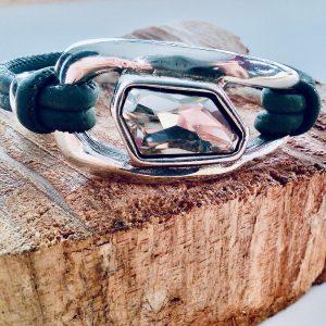 Korkarmband mit großem transparentem Swarovskistein