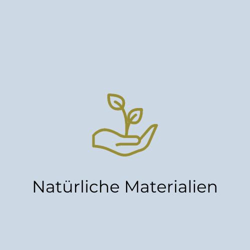 """""""Natürliche Materialien"""" Icon: Zum Anfertigen unseres Schmucks verwenden wir ausschließlich natürliche und nachhaltig gewonnene Materialien."""