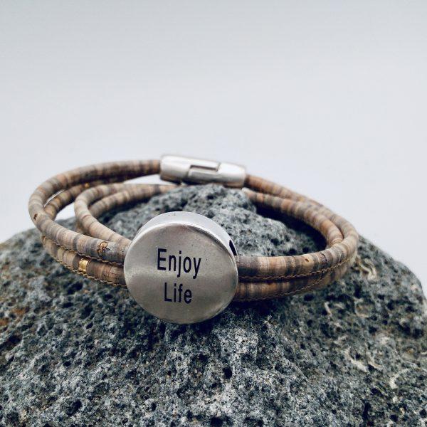 """Enjoy Life "" Armband auf hellem Vulkanstein"